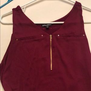 Burgundy tank with zipper detail. Size M Express